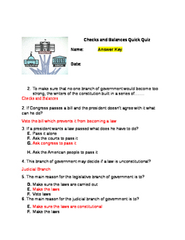 Checks and Balances of the Branches of Government Quiz Print and Go
