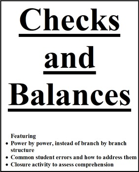 Checks and Balances - power by power