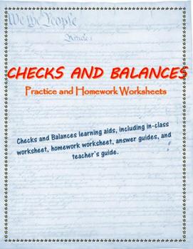 Checks and Balances practice worksheets