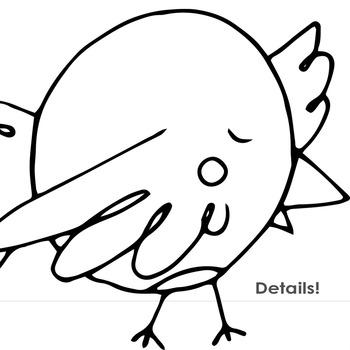 Cheeky Chickadee Black Line Art, Bird PNG Outlines + PS Brush