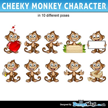 Cheeky Monkey Character in 10 Poses - All Formats