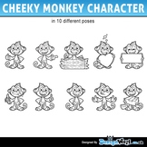 Cheeky Monkey Character in Black and White - Jpeg & Png's Only