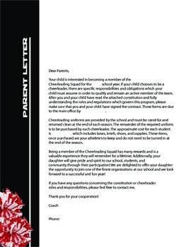 Cheer Coach Parent Letter Black