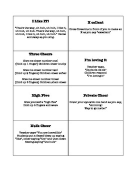 Cheer Song and Chant Cards
