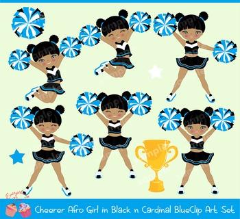 Cheerleaders Cheerer African - american Girl (Black and Cardinal Blue)