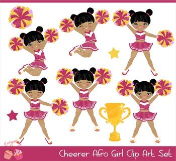 Cheerleaders Cheerer Arican - american Girl Clip Art Set