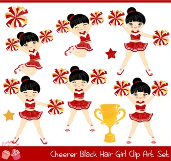 Cheerleaders Cheerer Black Hair Girl Clip Art Set