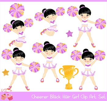 Cheerleaders Cheerer Black Haired Hair Girl Purple and Yellow Clip Art Set