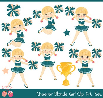 Cheerleaders Cheerer Blonde 2 Clip Art Set