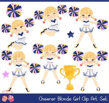 Cheerleaders Cheerer Blonde Navy Blue Pink and Yellow Clip Art Set