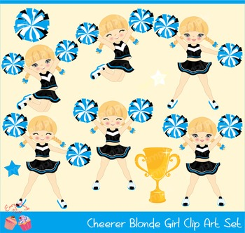 Cheerleaders Cheerer Blonde in Black and Cardinal Blue Clipart Set