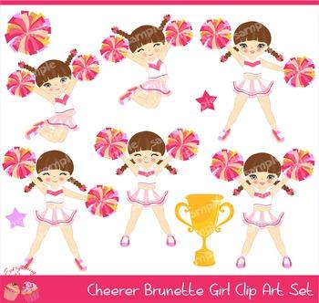 Cheerleaders Cheerer Brown Haired Hair Brunette Girl Pink White and Yellow