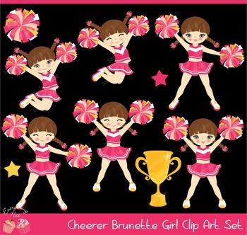 Cheerleaders Cheerer Brunette Girl Clip Art Set