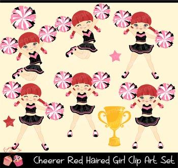 Cheerleaders Cheerer Red Haired Girl Clip Art Set
