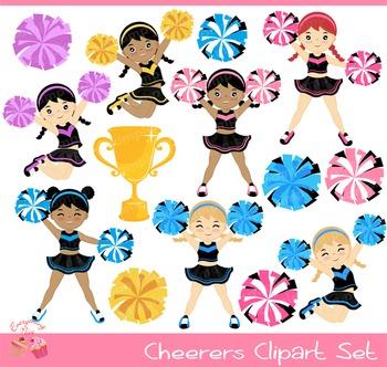 Cheerleaders Cheerers 2 Clipart Set