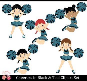 Cheerers Cheerleaders Black and Teal Clip Art Set