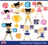 Cheerleaders Cheerers Clipart Set