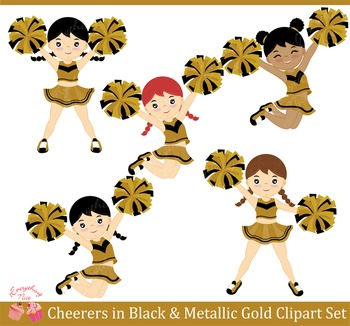 Cheerers in Black and Metalic Gold Clipart Set