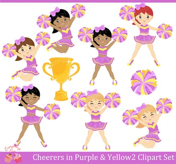 Cheerleaders Cheerers in Yellow and Purple 2 Clipart Set