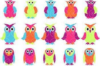Cheerful Owls Digital Clipart by Poppydreamz