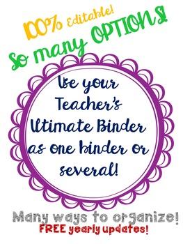 Cheerful Serenity Teacher's Ultimate Binder w/Calander 100%Editable FREEupdates