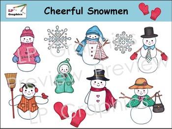 Cheerful Snowmen Clip Art