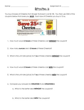 Cheerios Unit Rate with Coupons