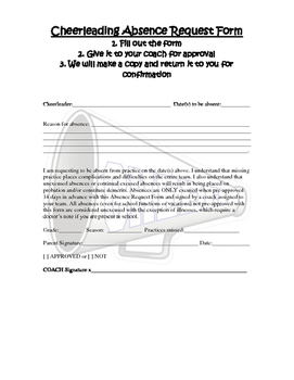 Cheerleader Absence Request form
