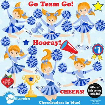 Clipart, Cheerleader Clipart, Cheerleaders clip art in Blue AMB-881