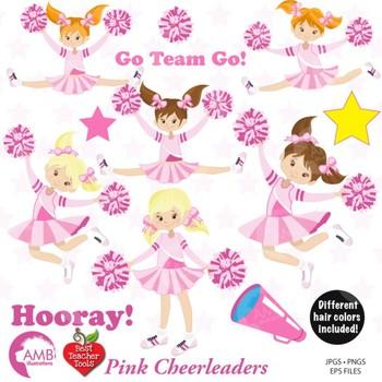 Clipart, Cheerleader Clipart, Cheerleaders in Pink Clip art, vectors, AMB-885