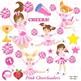 Cheerleader Clipart, Cheerleaders in Pink Clip art, Sports Figures, AMB-885