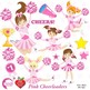 Clipart, Cheerleader Clipart, Cheerleaders in Pink Clip ar