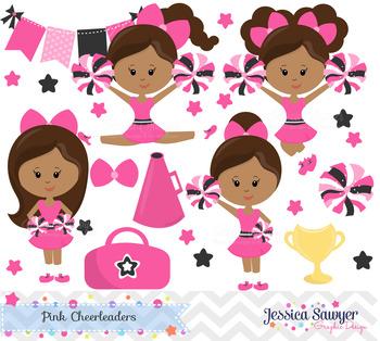 Cheerleader Clipart and Vectors or Cheerleading Clip Art Dark Skin Tones