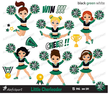 Cheerleader Digital Clipart Set / Black Green White Personal and Commercial Use
