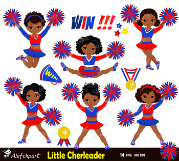Cheerleader Digital Clipart Set for -Personal and Commercial Use