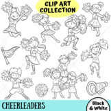 Cheerleader Kids Clip Art Collection (BLACK AND WHITE ONLY)