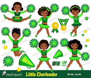 Cheerleader Multicultural Digital Clipart Set for -Personal and Commercial Use