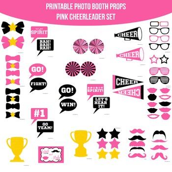 Cheerleader Pink Black Printable Photo Booth Prop Set