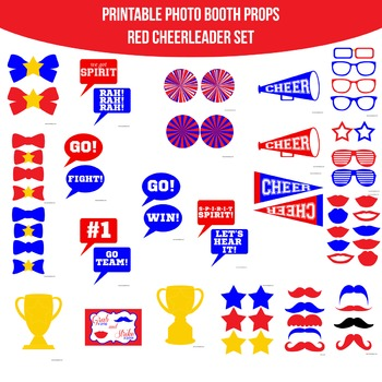 Cheerleader Red Blue Printable Photo Booth Prop Set