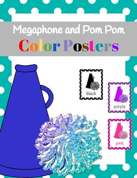 Cheerleader/Sports (Megaphones and Pom Poms) Color Posters