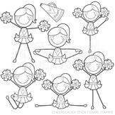 Cheerleader Stick Figure Cute Digital B&W Stamps, Cheer Line Art, Blackline