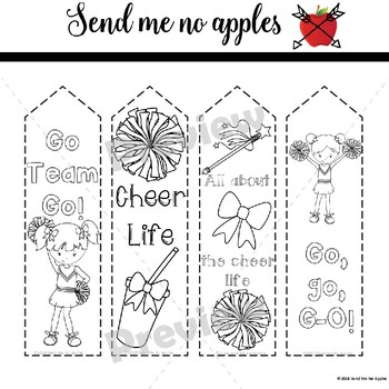 Cheerleader printable bookmarks to color