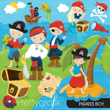 Pirate boy clipart commercial use, vector graphics, digital - CL647