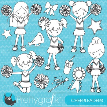 Cheerleader stamps commercial use, vector graphics, images - DS646