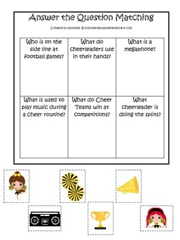 Cheerleaders (Gold and Black) themed Answer the Question preschool printable.