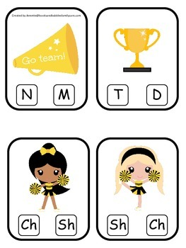 Cheerleaders (Gold and Black) themed Beginning Sounds Cards preschool printable.