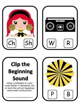 Cheerleaders (Gold and Black) themed Beginning Sounds Card