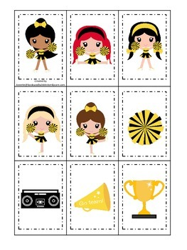 Cheerleaders (Gold and Black) themed Memory Matching preschool printable.