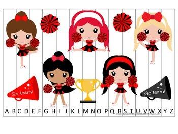 Cheerleaders (Red and Black) themed Alphabet Puzzle preschool printable.
