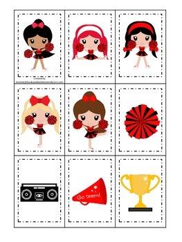 Cheerleaders (Red and Black) themed Memory Matching preschool printable.  Daycar